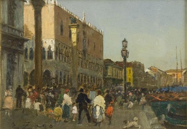 veduta di venezia con scene di vita quotidiana by erma zago