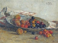still life of cherries and peaches by josef köpf