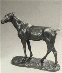 'kir' a standing cob with ears back by edouard félicien eugène navelier
