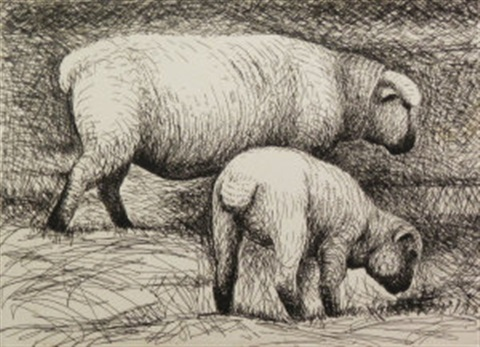 two fat lambs plate v and sheep in a field plate i from the sheep album by henry moore