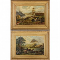 pair of victorian scottish highlands landscape paintings by william glover