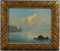 coastal view with distant lighthouse by mauritz frederick hendrick de haas