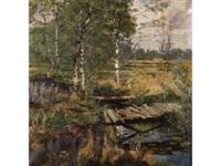 birkenlandschaft im dachauer moos mit altem brettersteg über einem bachlauf by josef huber