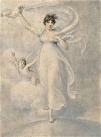 portrait of maria caroline duff, née manners (1775 - 1805), full-length, in a white dress, standing on a globe accompanied by two cherubs by richard cosway