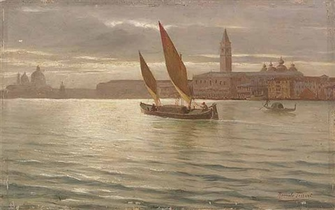 barca on the bacino di san marco venice with the molo the ducal palace and the campanile of san marco in the background by romolo tessari