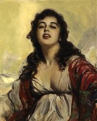 joven con mantón rojo by george owen wynne apperley