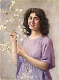 retrato de joven con rama by rafael argeles y escriche