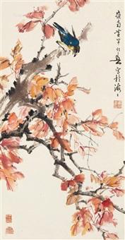 红叶栖禽 by huang huanwu