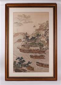 18th c. ink & color on silk scenery painting by anonymous-chinese (18)