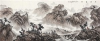 溪山叠翠 (landscape) by liu guang
