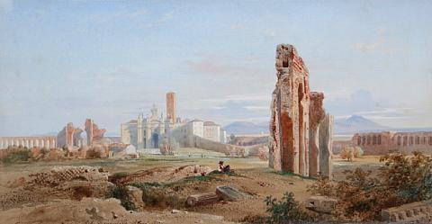 vue de leglise santa croce gerusalemme avec laqueduc claudien a rome by jean achille bénouville