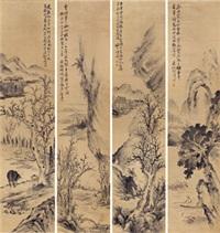渔樵耕读 (四幅) 镜片 纸本 (4 works) by hu tiemei