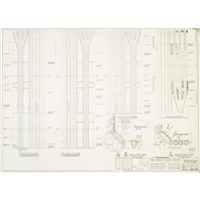 world trade center (north tower) corner elevations and plans at base by minoru yamasaki