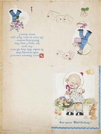 childrens birthday card designs: for your birthday! (illustrated); your birthday morning! (2 works) by mabel lucie attwell