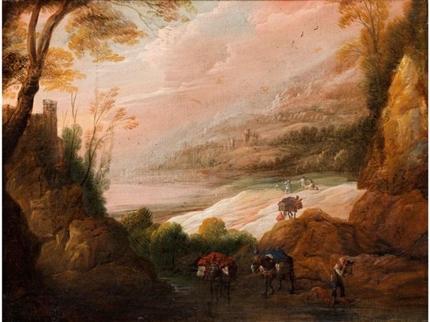 landschaft mit bachlauf und figurenstaffage by jan van de venne