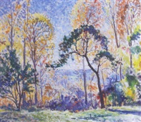 impressionistic wooded landscape by august frederick lundberg