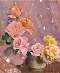 pink and yellow roses by laura coombs hills