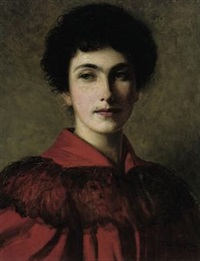 portrait of isabella in a red dress by thomas bowman garvie