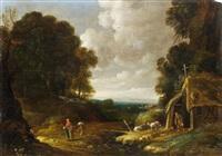 bewaldete landschaft mit einem einsiedler und reisenden by gillis (egidius i) peeters