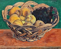 basket with grapes and aprocots by vasile varga