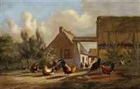hühnerhof (+ another; 2 works) by johan lodewijk van leemputten