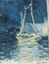 bateau illuminé by berthe morisot