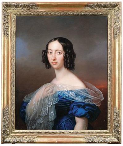 bildnis einer jungen dame in blauem kleid mit durchsichtigem seidenschal in dreiviertelansicht nach links by karl gottlieb schweikart