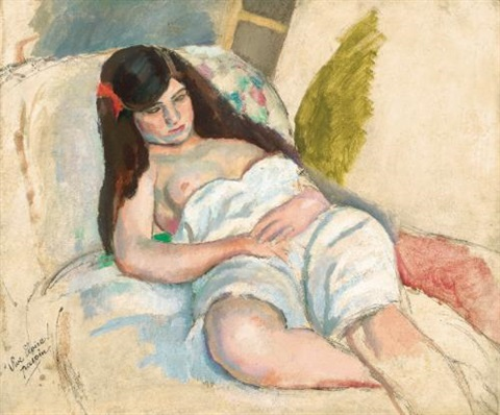 femme étendue by jules pascin