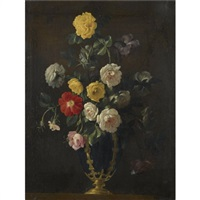 a still life with roses and various other flowers in a vase by jean-michel picart