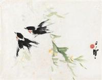 柳燕图 by liang zhanfeng