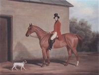 major william vaughan jenkins on a chestnut hunter at combe grove, bath by james loder of bath