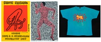 sans titre (2 posters, 1 shirt; 3 works) by keith haring