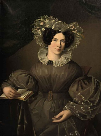 portrait of anna helena de loches in a gray dress with a bonnet with flowers, holding a book by ezechiel davidson