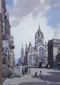 edinburgh from calton hill (+ st. giles's cathedral, edinburgh; pair) by leonard russel squirrell