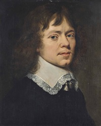 portrait of a man, half-length, in black robes and a lace collar by jan de bray