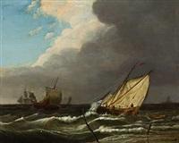 segelschiffe vor der küste by jan hendrik boshamer