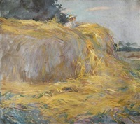 a small girl sitting on a haystack by steven spurrier