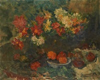 vase fleuri sur un guéridon by victor simonin
