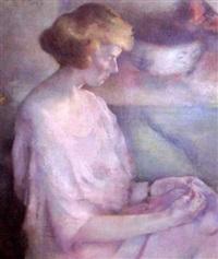 portrait of a seated woman by luigi spizziri