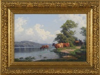cattle by the riverside by carl frederik bartsch
