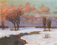 hiver, coucher de soleil sur la rivière eu runie by sedrac agababoff