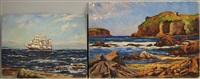 cushings island from peaks island near portland maine and sailing ship (2 works) by arthur e. ward