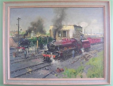 express engines at tyseley no 45593 lms jubilee kholapur no 45593 with gwr loco no 7029 clun castle at tyseley by terence cuneo