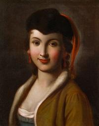 junge dame mit schwarzer pelzkappe und roten ohrringen by pietro antonio rotari