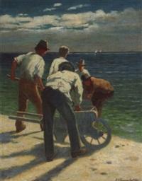 männer mit handkarren am meeresstrand by ernst oskar simonson-castelli