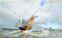marine landscape with sailing vessels by alfred herbert