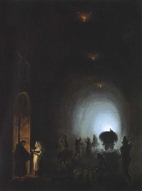 bauern und hirten in einer grotte und vor einer klosterpforte (grotta apozzoli?) by vincenzo abbati