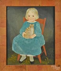 portrait of a child seated in a chair holding a cat by jeanne davies