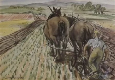 ploughing by dame laura knight