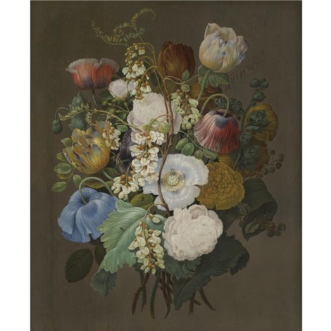a still life of a bouquet of tulips roses and other flowers by jan frans van dael